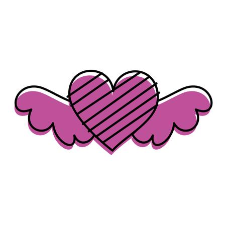 로맨스와 사랑 벡터 일러스트 레이 션을 상징하는 줄무늬와 함께 로맨틱 날개 달린 된 심장
