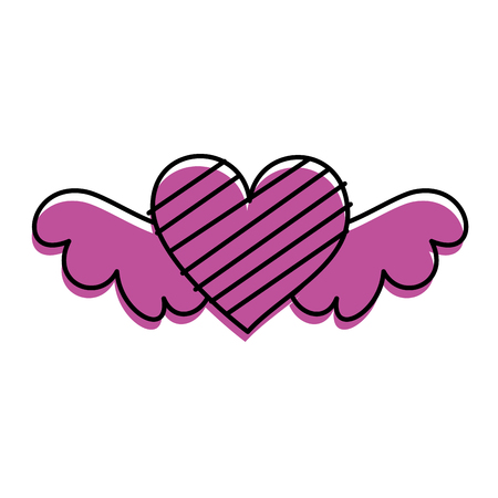 romantic winged heart with stripes symbolising romance and love vector illustration Ilustração