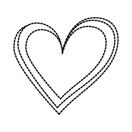 linear cartoon hand drawn heart doodle vector illustration