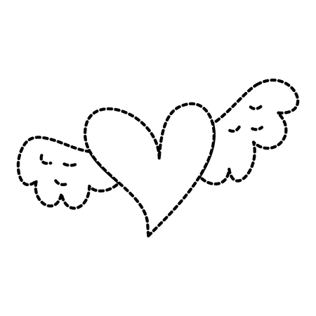 romantic winged heart symbolising romance and love vector illustration