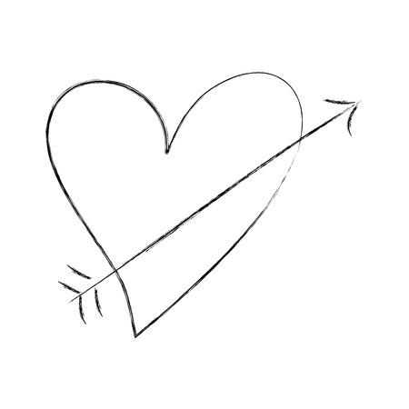 romantic heart love arrow cupid valentine symbol vector illustration 向量圖像