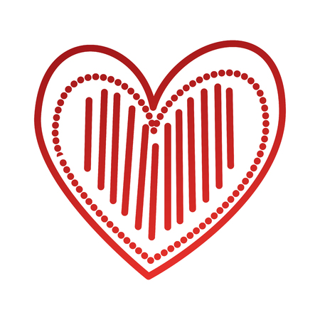 heart love romance passion stripes drawn decoration vector illustration