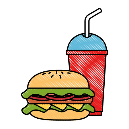 hamburger with soda icon vector illustration design