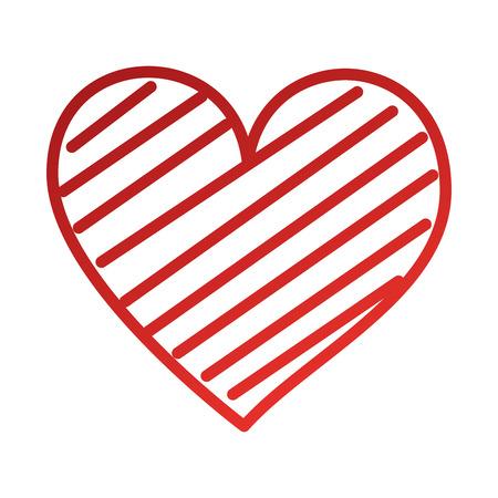 Corazón amor romance pasión decorar rayas vector illustration Foto de archivo - 88828043