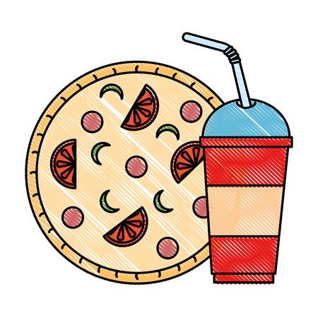 heerlijk Italiaans pizza en soda vectorillustratieontwerp