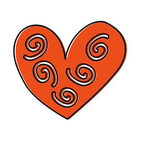 hart decoratief element krullend wervelingen vector illustratie