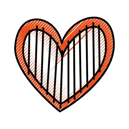 Corazón amor romance pasión decorar rayas vector illustration Foto de archivo - 88827736