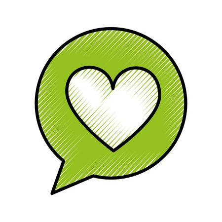 cuadro de diálogo de burbujas de discurso con la ilustración de vector de corazón amor icono
