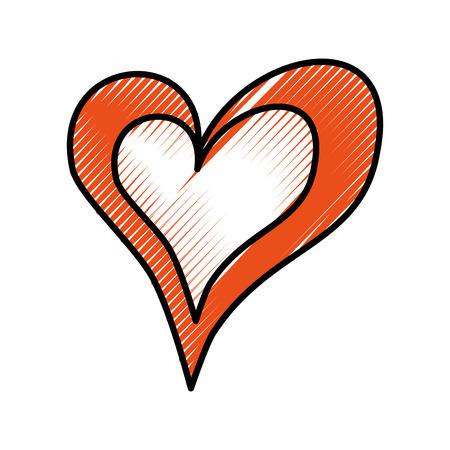 drawing heart love romance passion decoration vector illustration Illusztráció