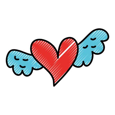 Corazón alado romántico que simboliza el amor y el romance ilustración vectorial Foto de archivo - 88828443