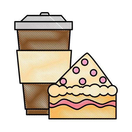 Köstlicher Kuchen Teil mit Getränke-Vektor-Illustration-design Standard-Bild - 88828470