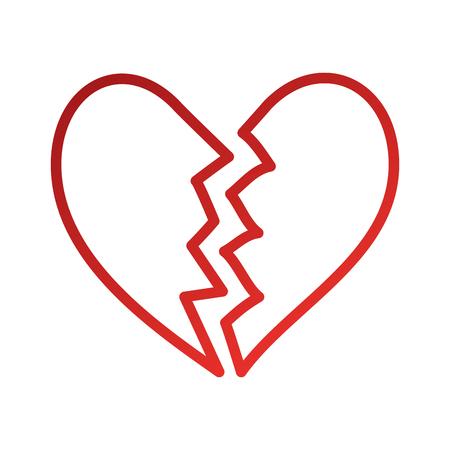 gebrochenes Herz Symbol Scheidung Ende der Liebe Symbol Vektor-Illustration