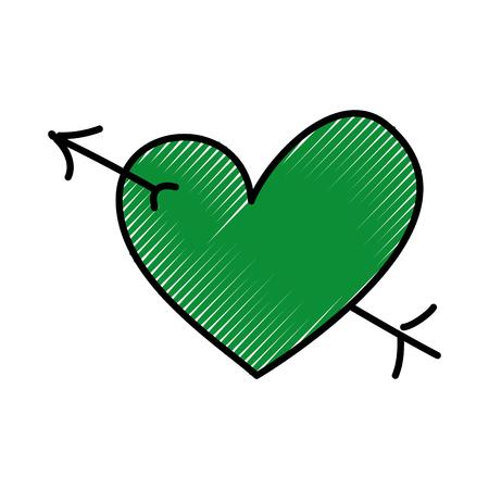 로맨틱 심장 사랑 큐피드 발렌타인 상징 벡터 일러스트 레이션 일러스트