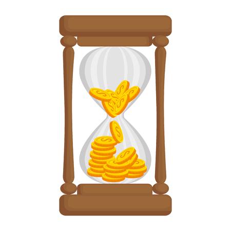 コイン アイコン ベクトル イラスト デザインと砂時計