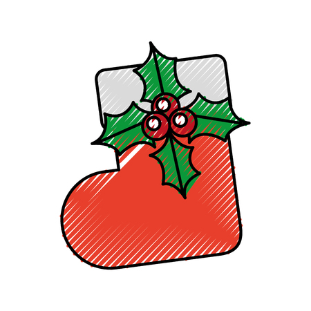 christmas sock flower surprise decoration ornate vector illustration
