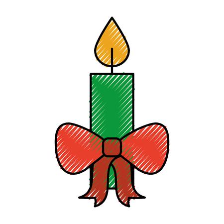 크리스마스 촛불 붉은 나비 레코딩 축하 장식 벡터 일러스트 레이션 일러스트