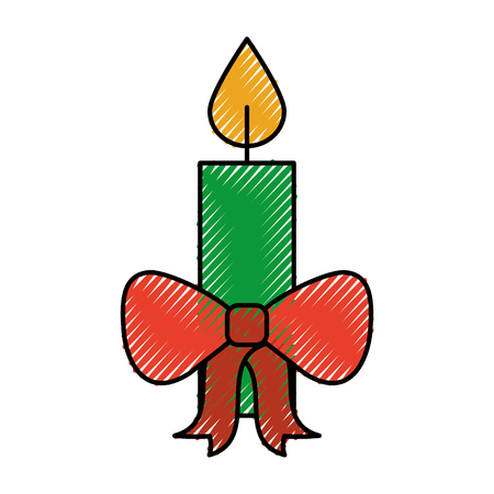 christmas candle red bow burning celebration decoration vector illustration