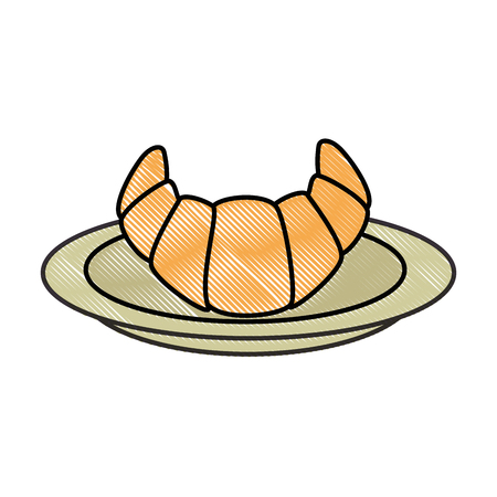 dish with delicious croissant vector illustration design