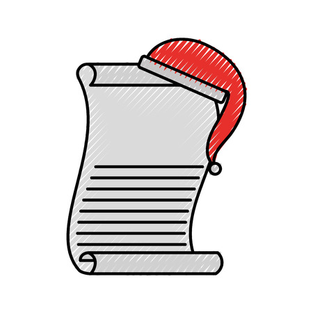 cartoon christmas wish list with hat of santa claus template vector illustration Ilustracja