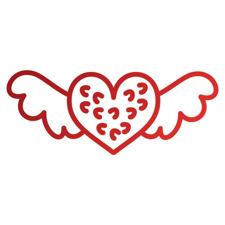 Romantisch winged Herz symbolisiert Romantik und Liebe Vektor-Illustration Standard-Bild - 88828549