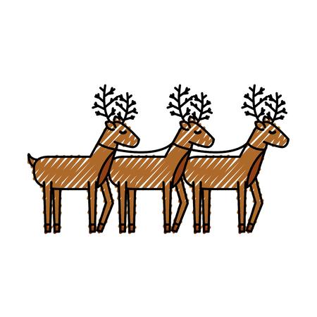 christmas three reindeer animal horned funny vector illustration