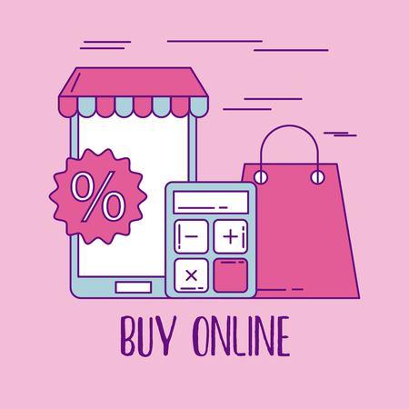 buy online mobile phone bag gift calculator offer discount vector illustration