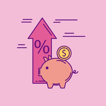 piggy coin money arrow up price percent vector illustration