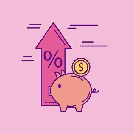 Piggy muntgeld pijl omhoog prijs procent vectorillustratie Stockfoto - 88828629
