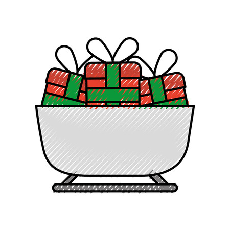 christmas sledge full gifts box decoration vector illustration 向量圖像