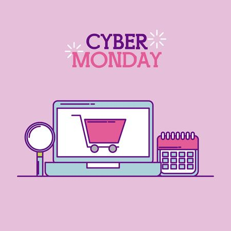cyber monday laptop shopping cart calendar vector illustration