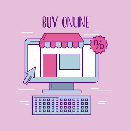 buy online computer store discount virtual vector illustration