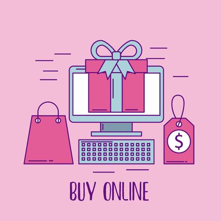 buy online computer digital technology gift bag tag price vector illustration