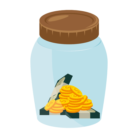 glass jar with money vector illustration design
