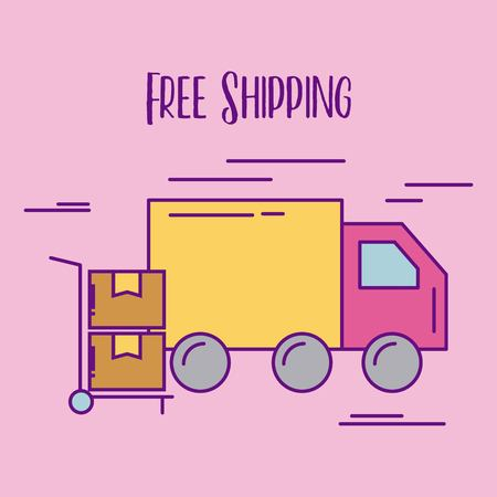 free shipping truck delivery hand cart cardboard boxes vector illustration