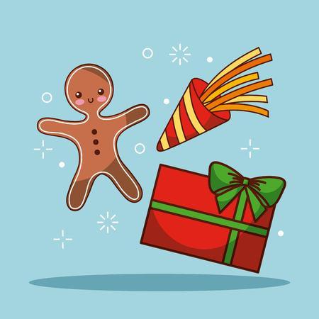 christmas gingerman gift box celebration festive vector illustration Иллюстрация