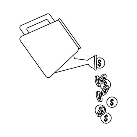 tuinhulpmiddel met vector de illustratieontwerp van het muntstukkenpictogram