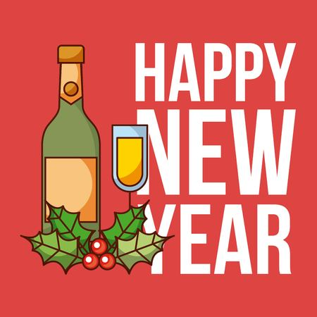 happy new year card wine bottle glass flower celebration vector illustration