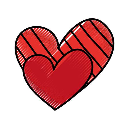 Corazón amor romance pasión decorar rayas puntos vector ilustración Foto de archivo - 88828726