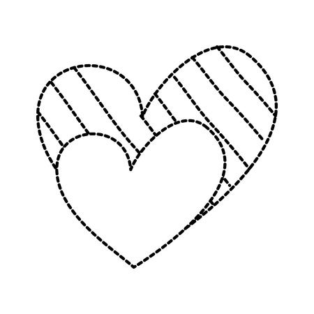 Corazón amor romance pasión decorar rayas puntos vector ilustración Foto de archivo - 88829050