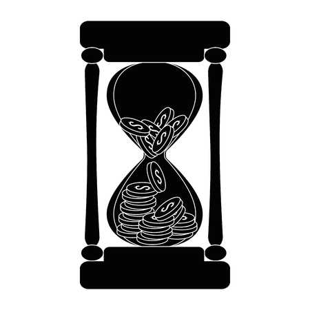 hourglass with coins icon vector illustration design Çizim