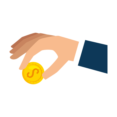 hand with coin icon vector illustration design Ilustrace