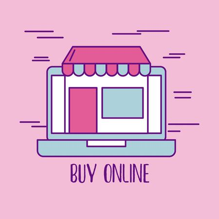 buy online laptop store commerce market virtual vector illustration Иллюстрация