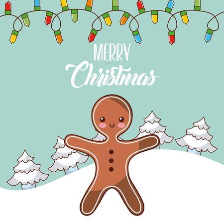 vrolijk kerst gingerman boom sneeuw licht winter viering vector illustratie