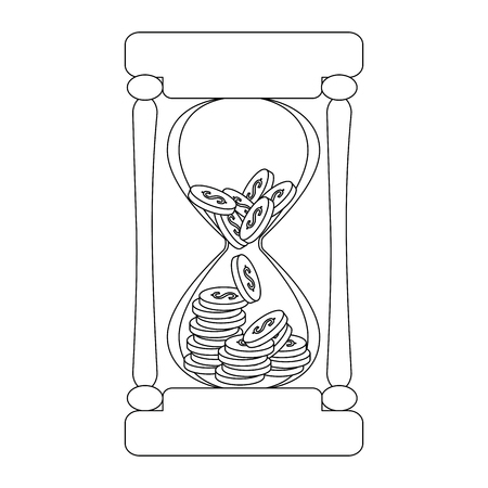 hourglass with coins icon vector illustration design Ilustrace
