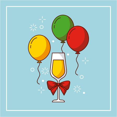 wine glass bow balloons flying decoration party christmas vector illustration
