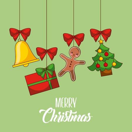 Frohe Weihnachten Karte Gingerman Geschenk Baum Glocke hängende Dekoration Partei Vektor-Illustration Standard-Bild - 88828907