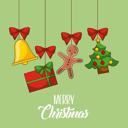 merry christmas card gingerman gift tree bell hanging decoration party vector illustration