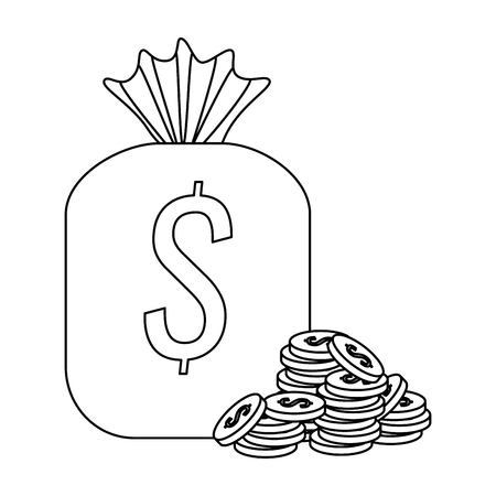 money bag with coins icon vector illustration design