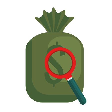 money bag with magnifying glass vector illustration design