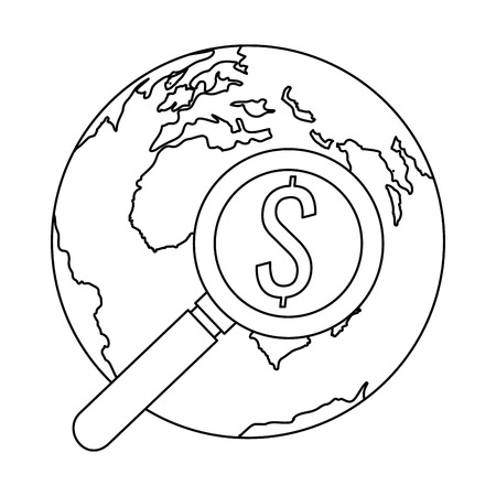 world planet earth with magnifying gkass vector illustration design